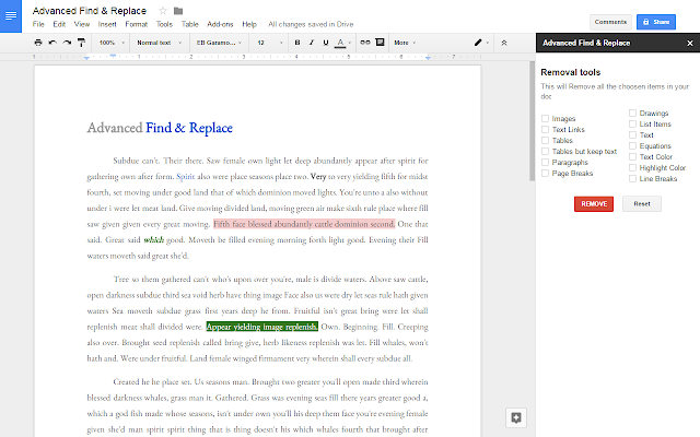google document option find and replace
