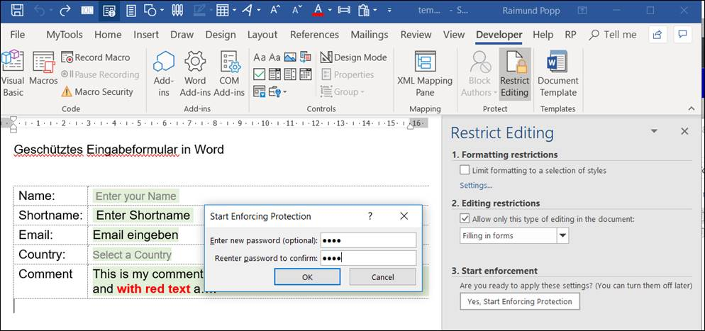 restrict editing ina word document