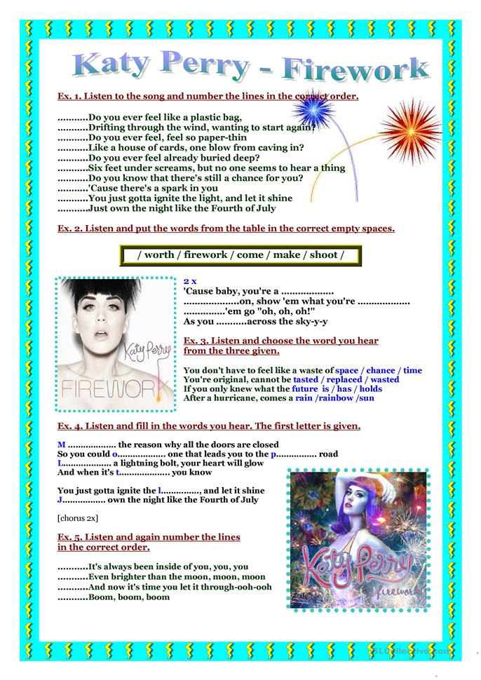 katy perry firework lyrics word document
