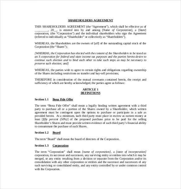 shareholders agreement document public companies