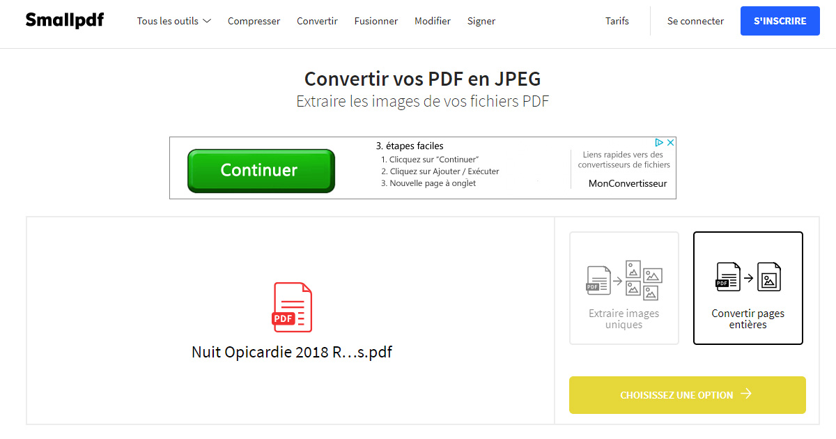 transformer un document pdf en jpeg gratuit