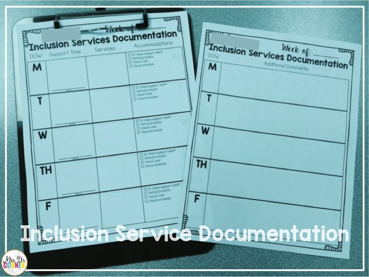 special education inclusion documentation forms
