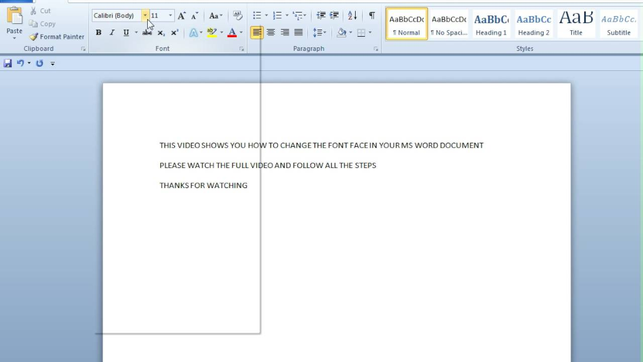 how to change the font of a document in word