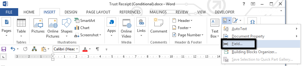 word document conditional image field