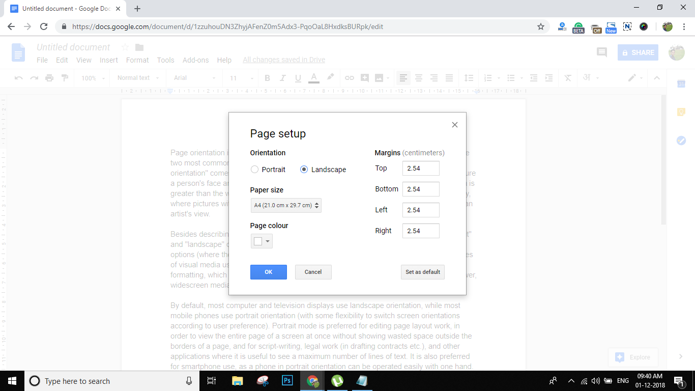 make a document landscape in google docs
