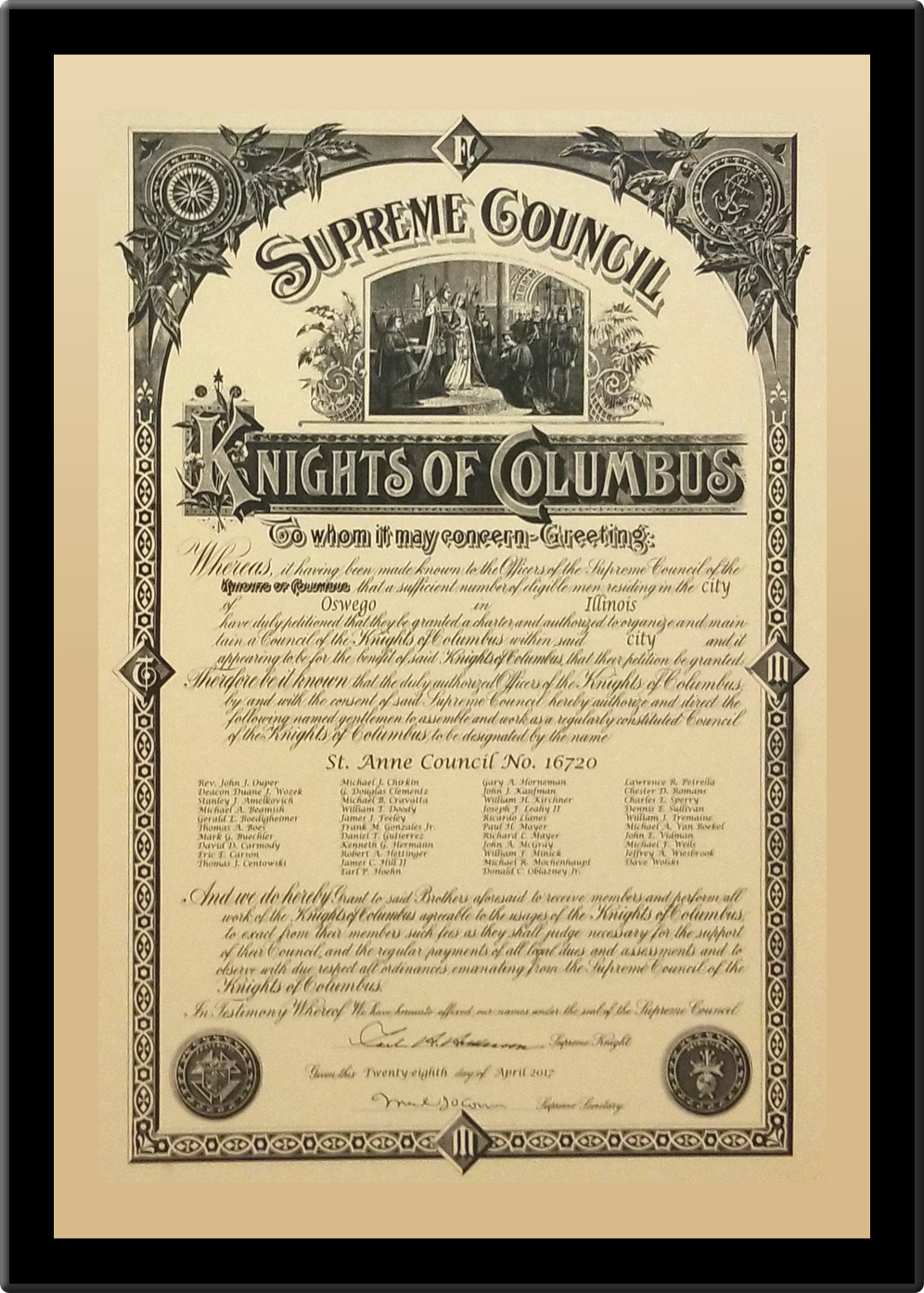 knights of columbus fourth degree membership document