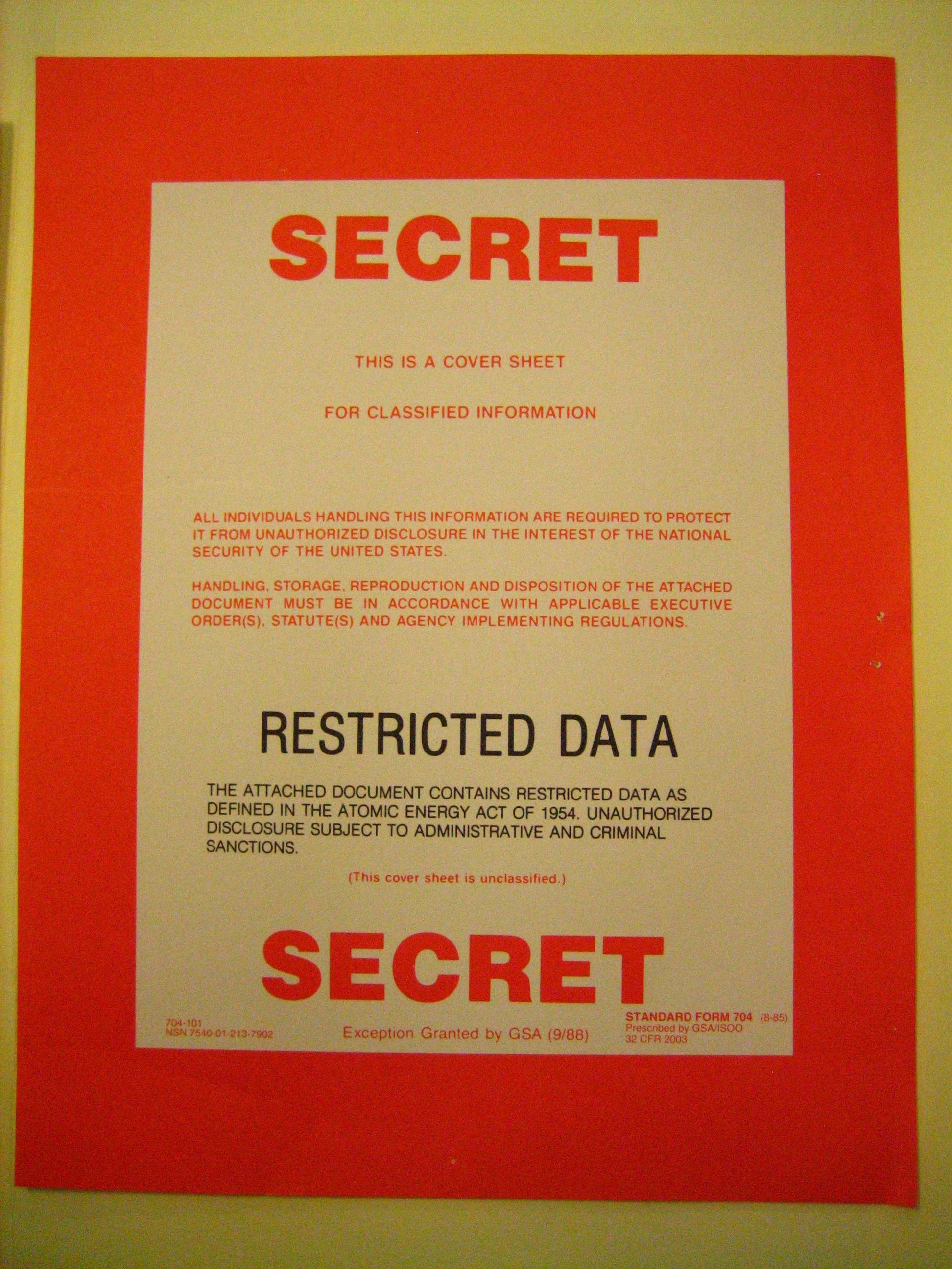 sf-704 secret document cover sheet