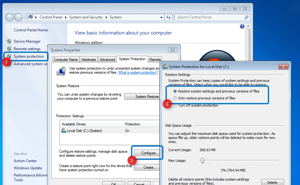 restore document to earlier version