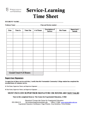 community service documentation form template