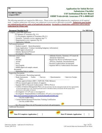 document checklist for sponsor and principal applicant