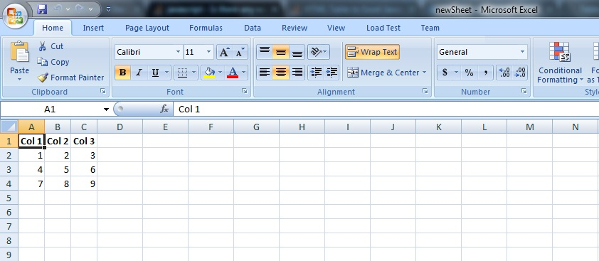 open excel document nothing there