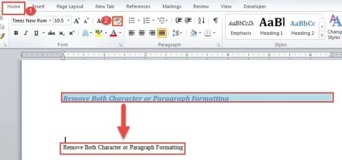 clear formatting for whole document