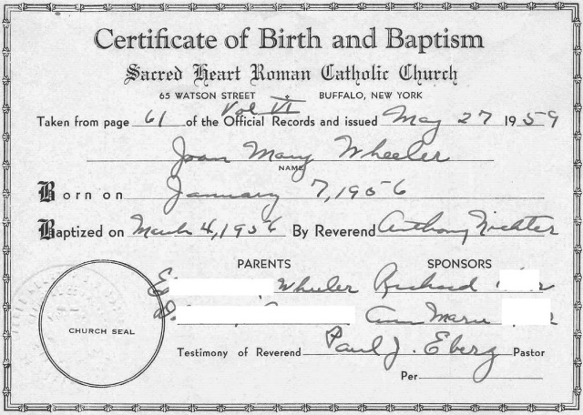 is a baptismal certificate a legal document