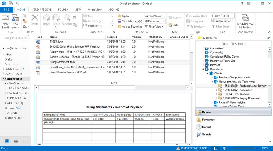 email enabled document library sharepoint online