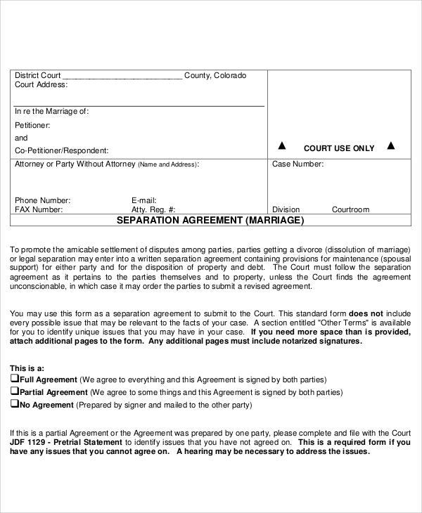 marital separation agreement sample document