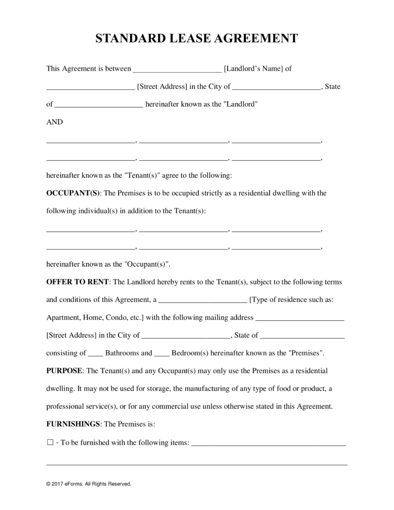 free residential tenancy agreement ontario word document