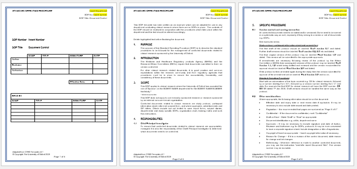 free standard operating procedure document template