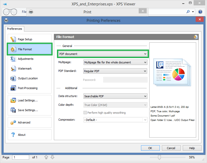 how to convert xps document to pdf