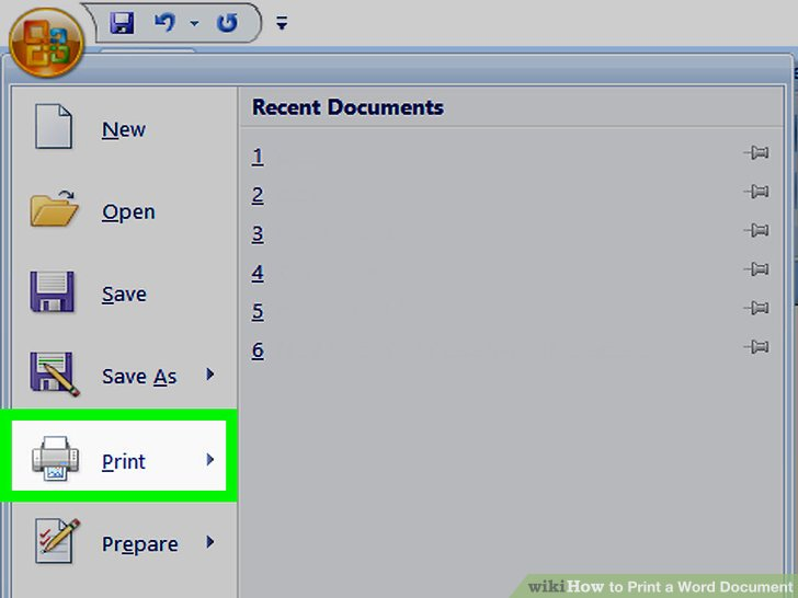how to print a document in ms word