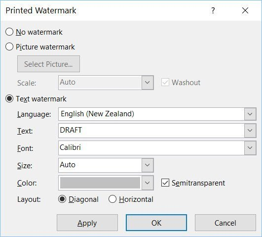 how to put draft stamp on word document