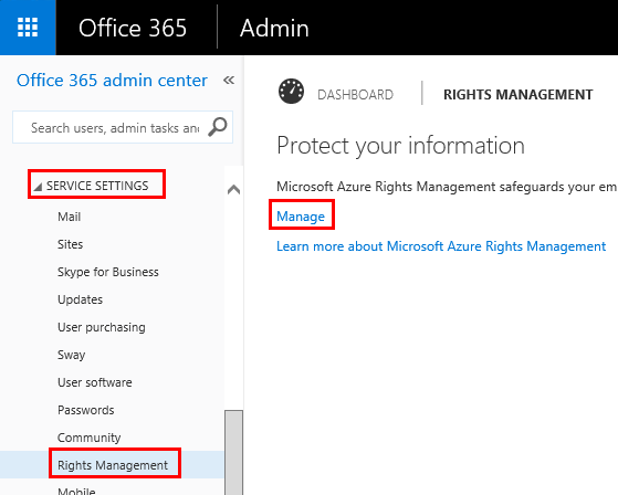 office 365 document rights management