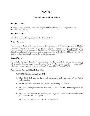 project terms of reference document