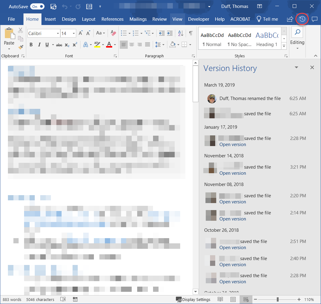 sharepoint version control word document