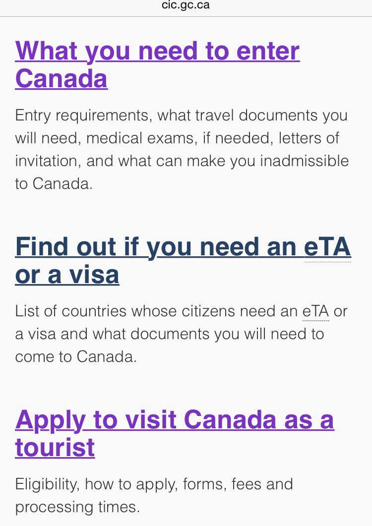 travel history document for canada visa